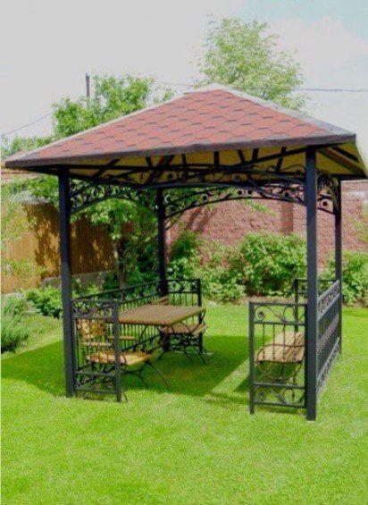a wrought iron gazebo with outdoor furniture #gazeboideas #gazebo #pavillion #pavilion #backyardGazebo #outdoorSpace #outdoorRoom #patioFurniture