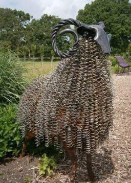 Metal art sculpture in a shape of a sheep #gardenSculptureIdeas #garden #landscaping #metal