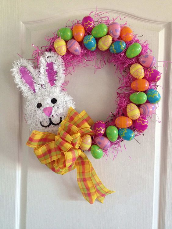 Eggs and bunny #EasterBunny #eastereggs #easter #frontDoor #frontDoorDecor #frontDoorWreaths #frontDoorWreath #curbAppealProjects #curbAppeal