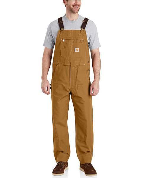 A man in a brown denim jumper