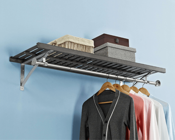 Allen Roth Closet: Rustic Gray Wood Closet Shelf Kit