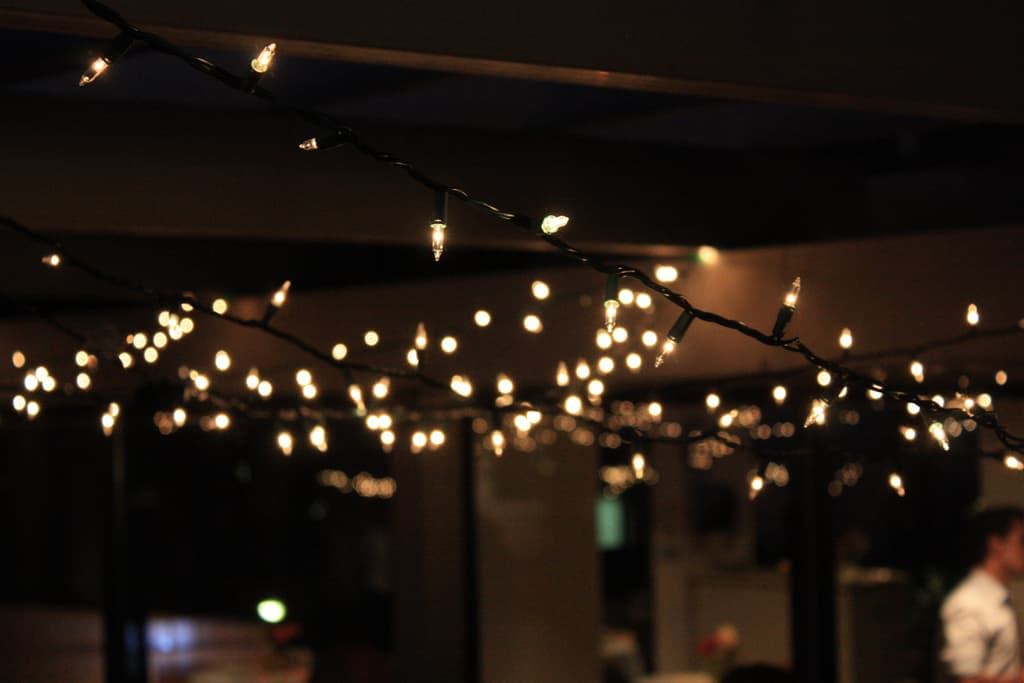 How to easily light a living room with no overhead lighting: Fairy Lights