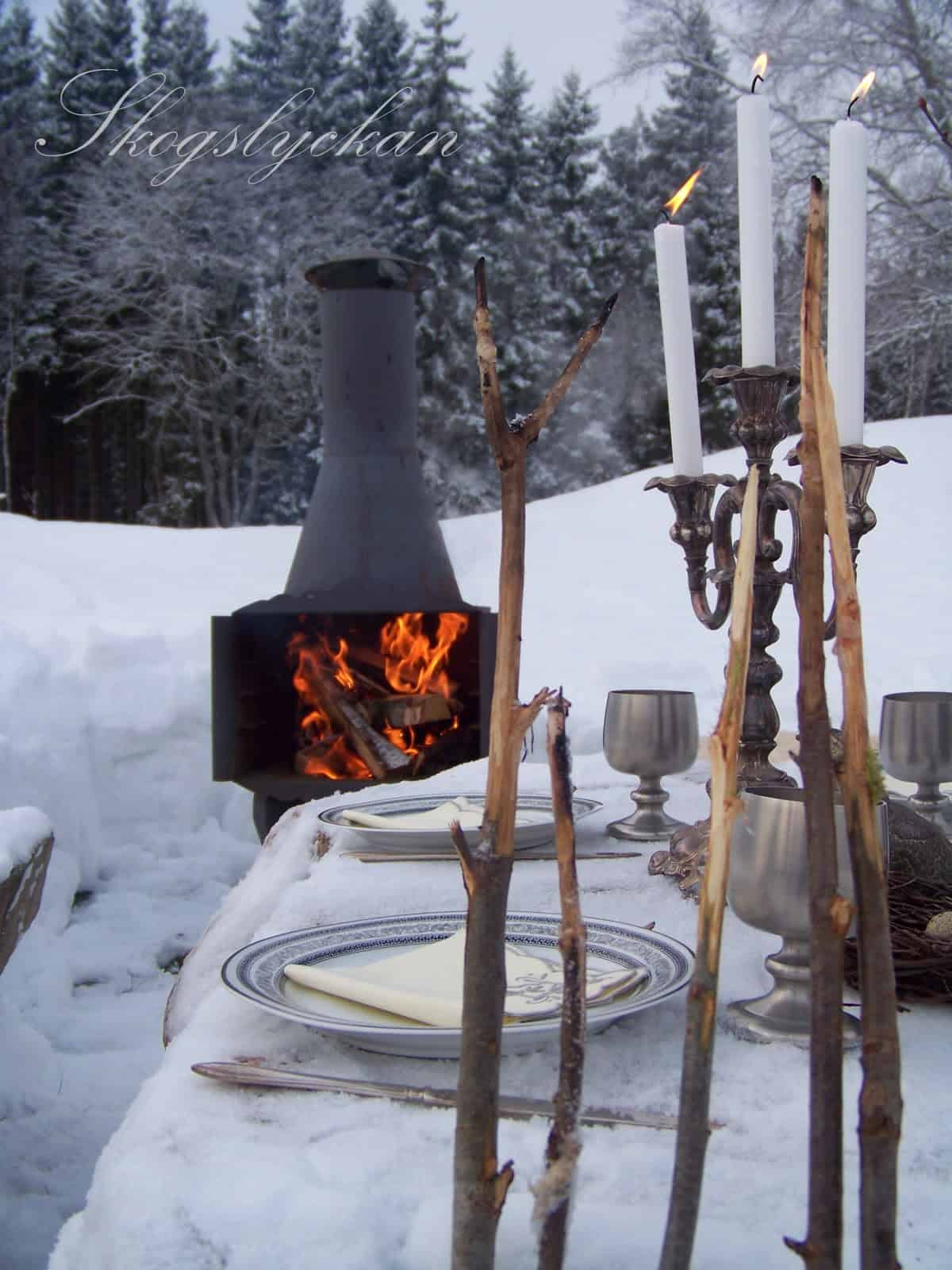 Outdoor winter party ideas: outdoor fireplace near the dining table