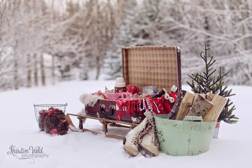 Outdoor winter party ideas: Sledge for Christmas Hamper