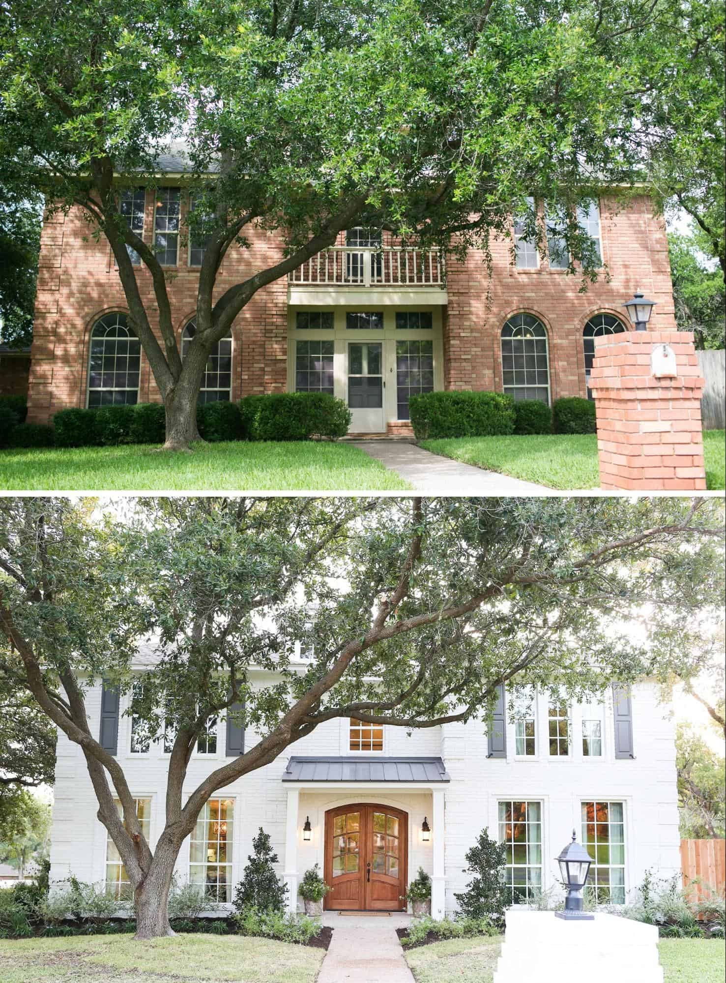 Curb appeal Before and After: Upgrade your front door #curbAppealProjects #curbAppeal #houseExterior #homeExterior #homeExteriorIdeas #houseDesign  #homeMakeover #frontDoor #frontDoorDecor #beforeafter