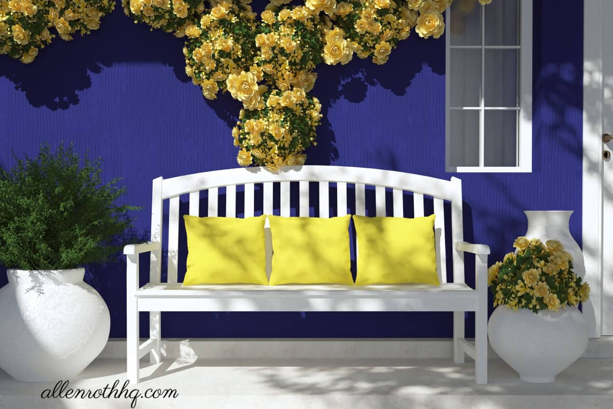 Curb appeal: Add bright pillows to the porch couch