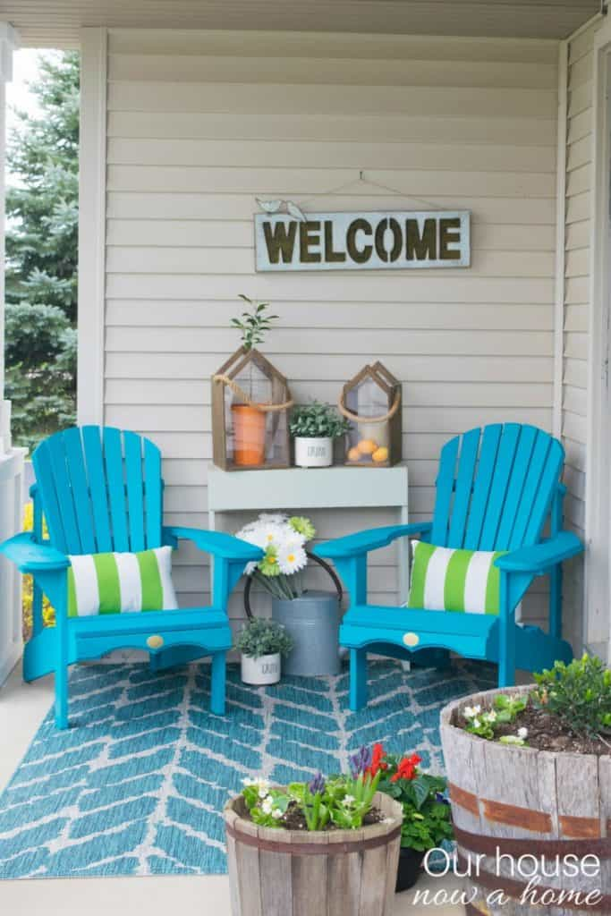 Curb appeal: Add brightly colored Adirondack chairs to your porch to create a sitting spot