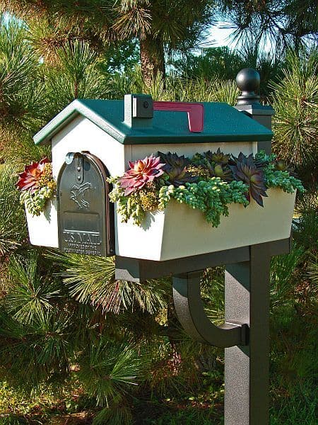 Curb appeal: Get a mailbox with a planter and plant succulents #succulents #mialbox #curbAppealProjects #curbAppeal #houseExterior #homeExterior #homeExteriorIdeas