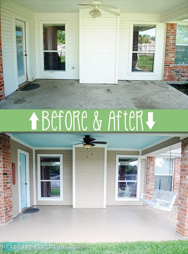 Curb appeal: Stain your concrete floors; before and after #curbAppealProjects #curbAppeal #houseExterior #homeExterior #homeExteriorIdeas  #beforeafter #porch