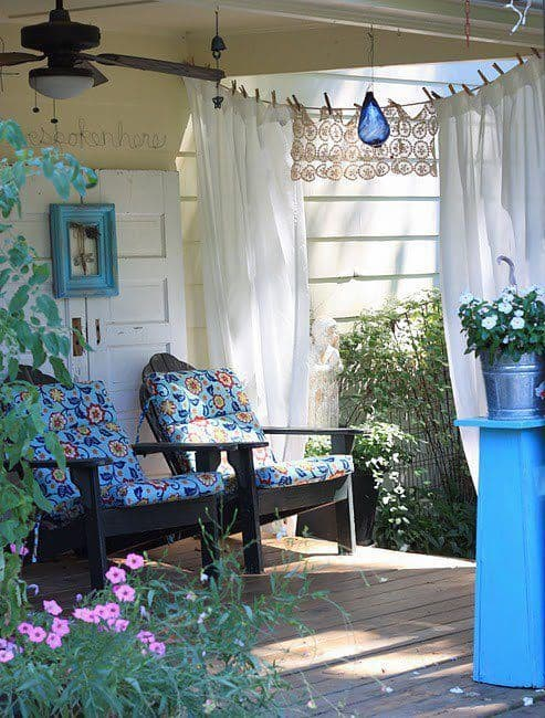 Curb appeal tip: Add curtains to your porch