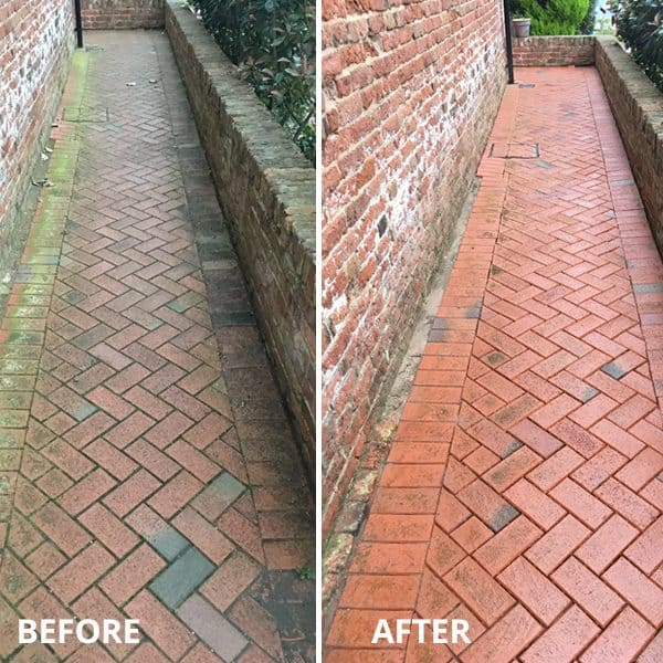 Curb appeal tip: Clean your pathways  #walkway #brickWalkway #beforeafter #curbAppealProjects #curbAppeal #houseExterior #homeExterior