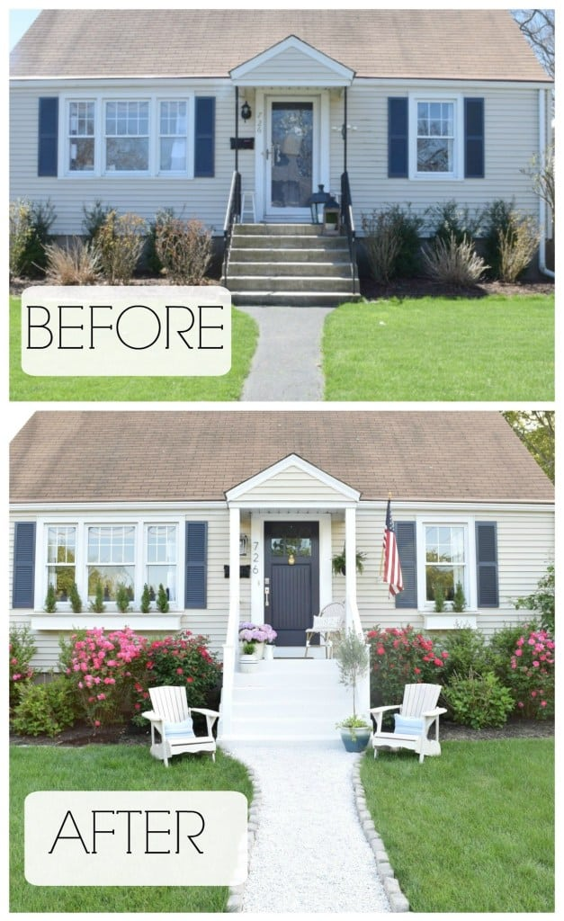 Curb appeal tip: Organize a small sitting area in the front of the house #porch #curbAppealProjects #curbAppeal #houseExterior #homeExterior #homeExteriorIdeas #houseDesign #frontDoor #frontDoorDecor