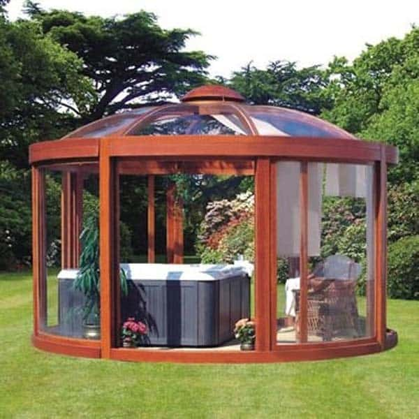 11 Backyard Pavilions Ideas You Didn't Know You Needed: Glass Dome Pavilion with a hot tob