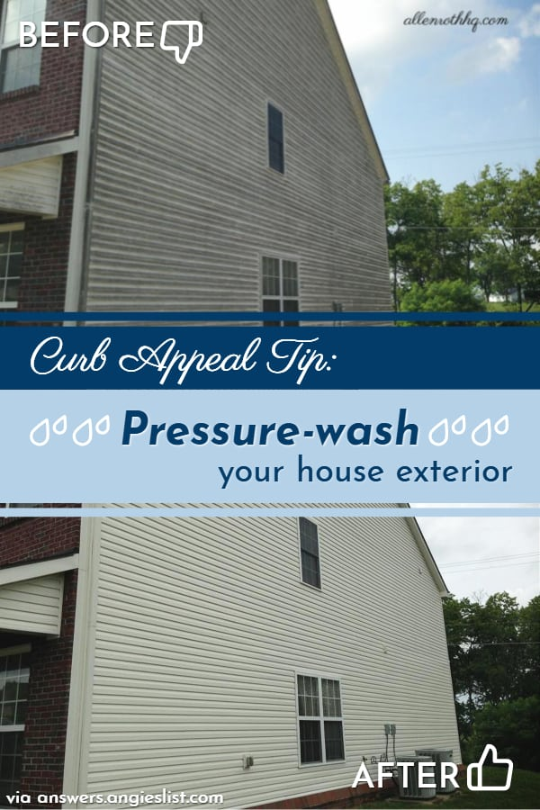 Curb appeal tip: Pressure wash house outside