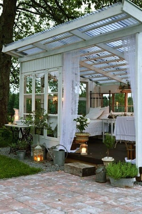 11 Backyard Pavilions Ideas You Didn't Know You Needed: White Pavilion with white lace curtains