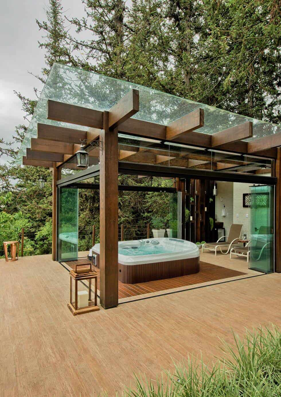 11 Backyard Pavilions Ideas You Didn't Know You Needed: Glass Roof Pavilion with Jacuzzi