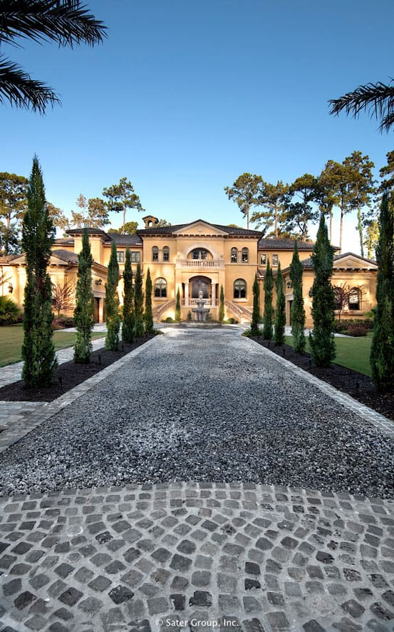 Villa Belle: A front exterior and driveway of a northern Italian villa  #backyardLandscaping #backyardLandscapingIdeas #landscaping #backyard #outdoor #curbAppeal #cheapLandscapingIdeas #walkway
