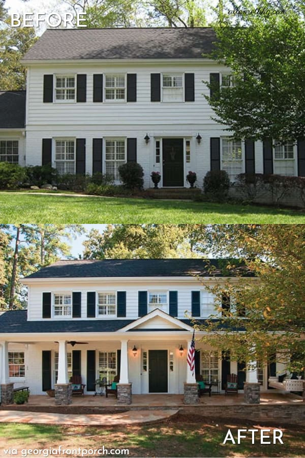 curb appeal porch before after Ahler