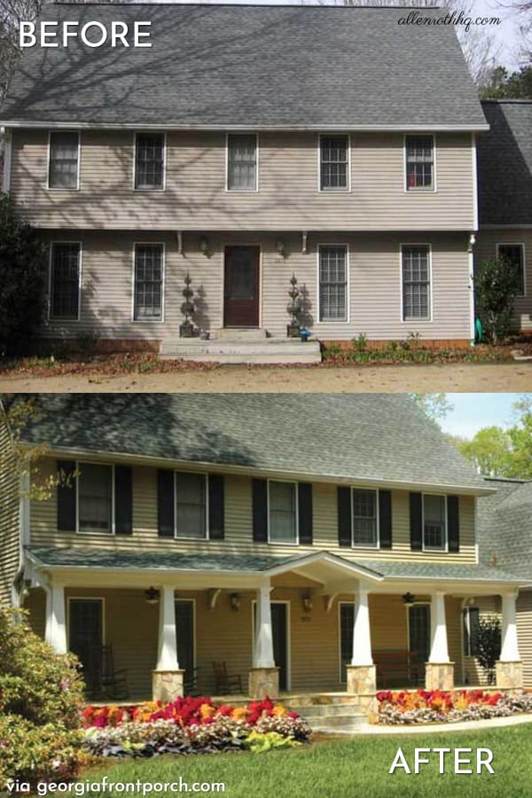curb appeal porch before after Cape-Cod