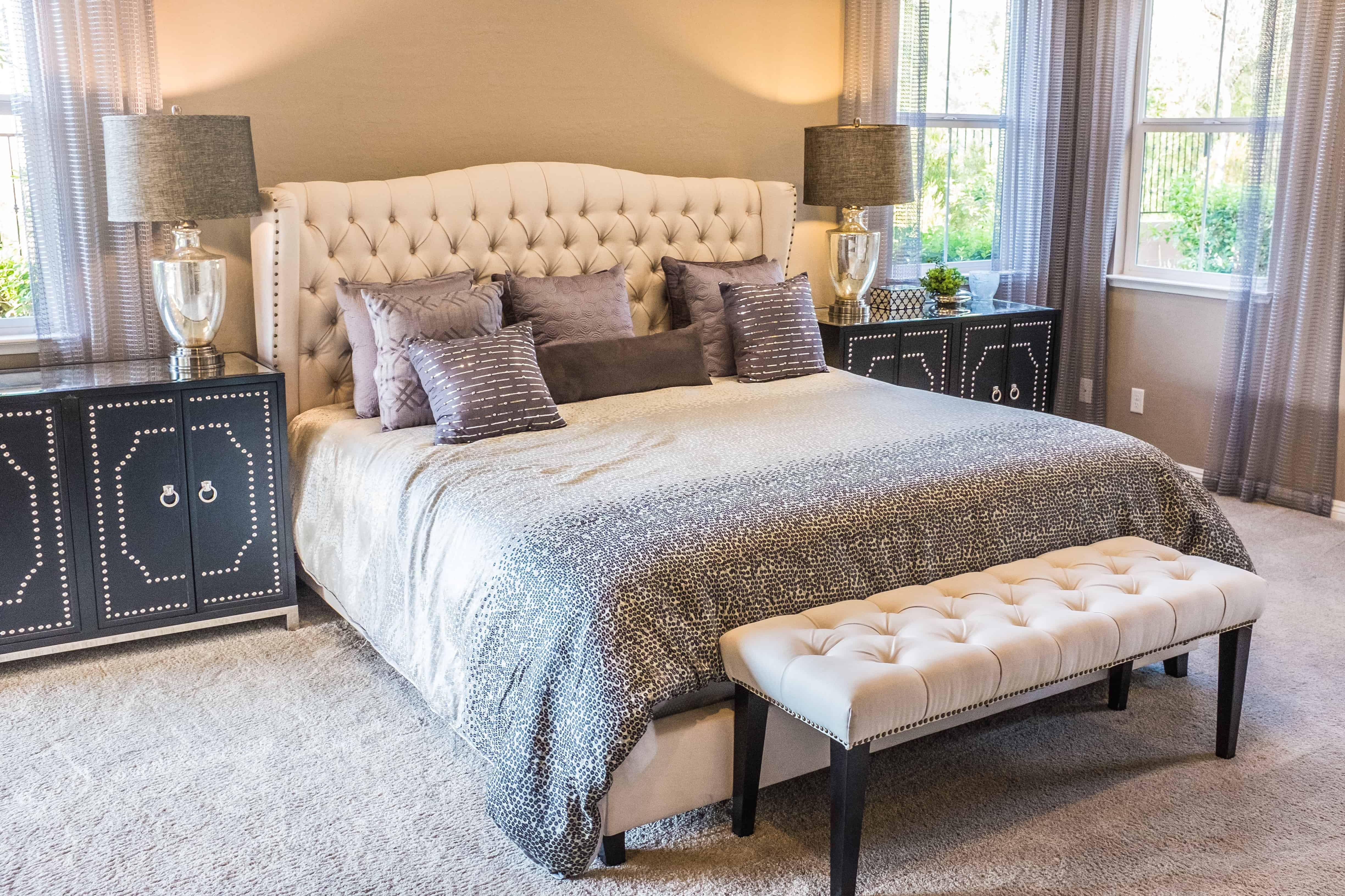 Antique Bedroom Furniture How to Style your Home: Masters bedroom bed, furniture, blanket, and pillows