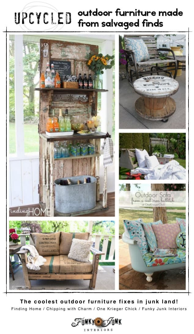 Upcycled outdoor furniture  salvaged finds via FunkJunk