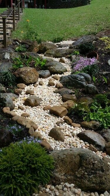 Dry river bed landscaping ideas: Curvy Course  with white pebbles