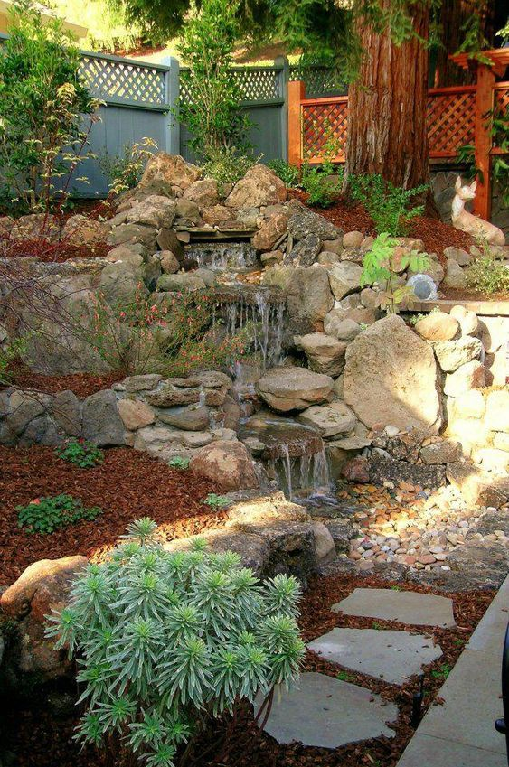 Landscaping ideas with mulch and rocks: Rocks, mulch in a waterfall style landscaping