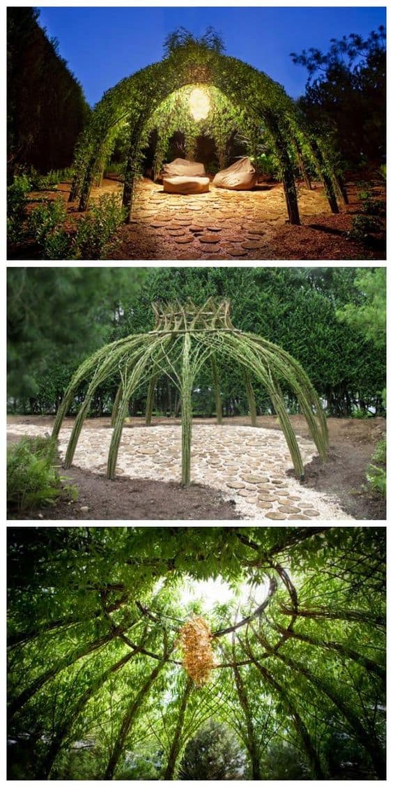intertwining plants around the structure of your pavilion