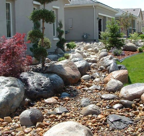 Dry river bed landscaping ideas:Rocks And Stones