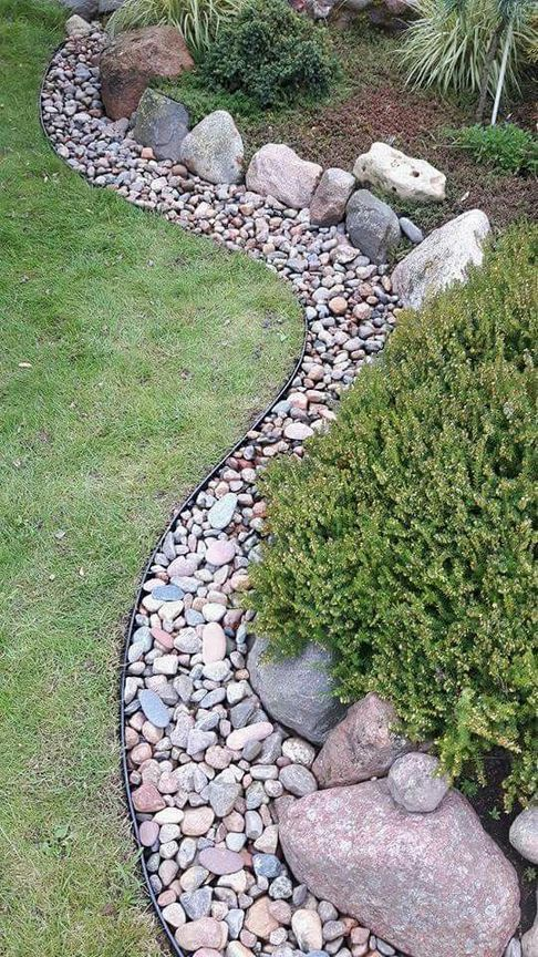 Dry river bed landscaping ideas: Rock Line