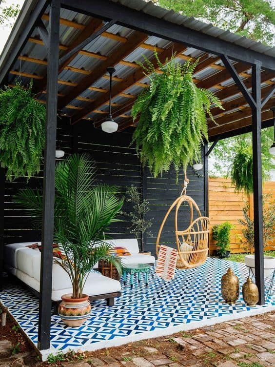 Hanging your plants from your pavilion's ceiling