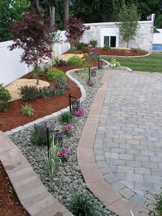 Landscaping ideas with mulch and rocks: deep reds and greens around a mulch border, combined with a further rocky area