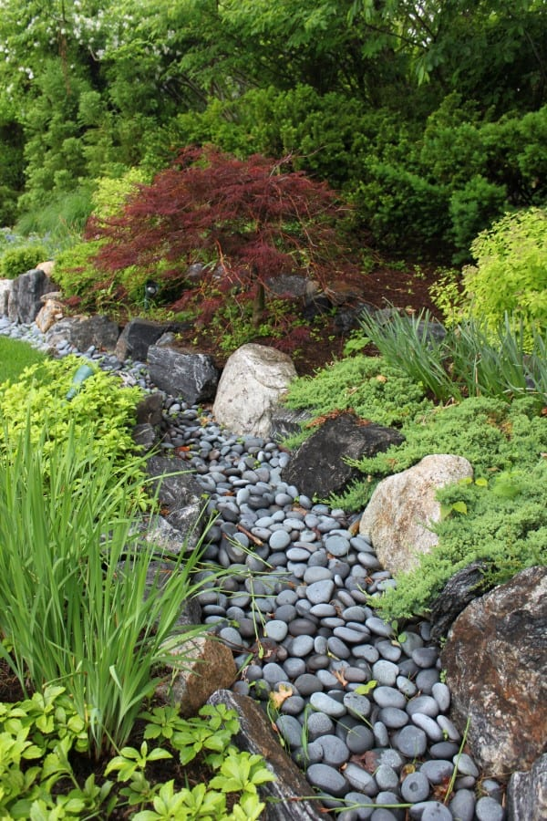 Dry river bed landscaping ideas:Gray Pebble Walk