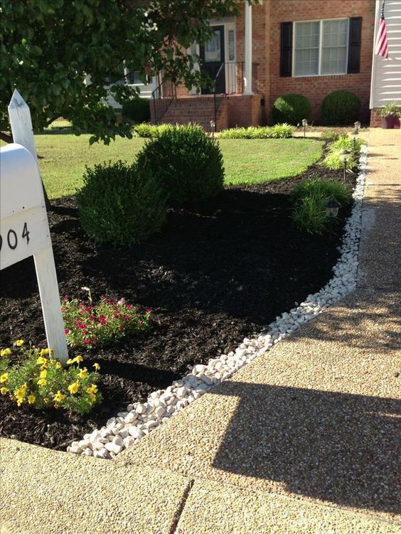 mulch on the side, to provide space for plants