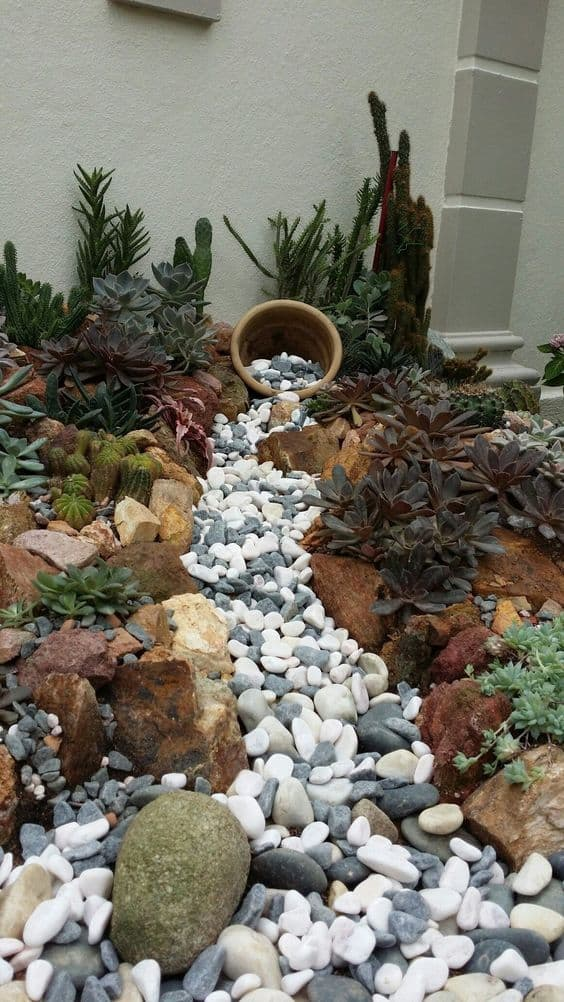 Dry river bed landscaping ideas:pot and some pebbles