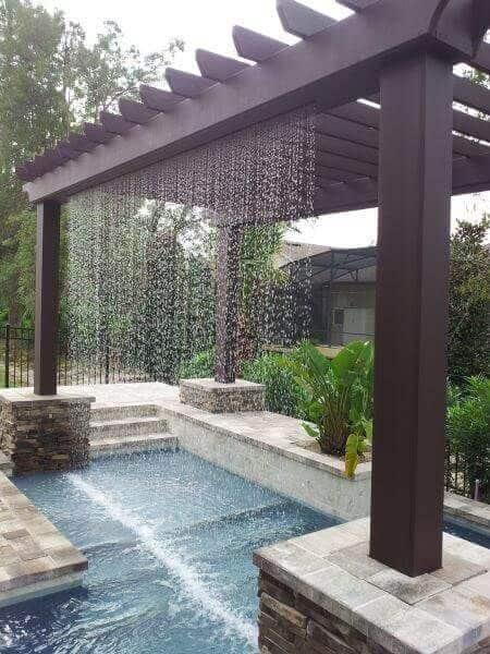 pool waterfall system into your pergola
