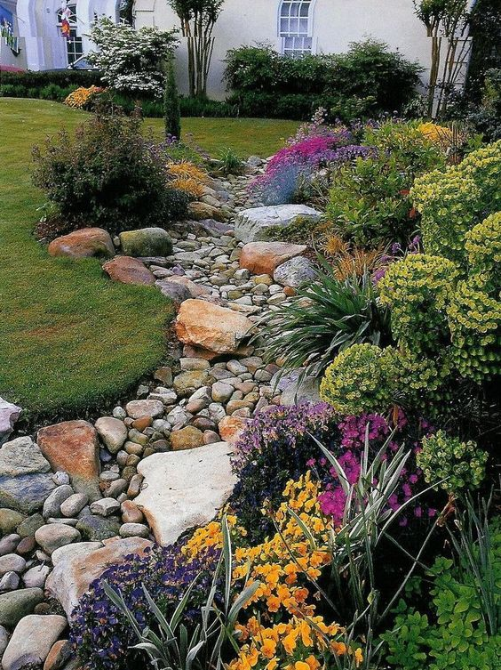 Dry river bed landscaping ideas:Tan Cobbles