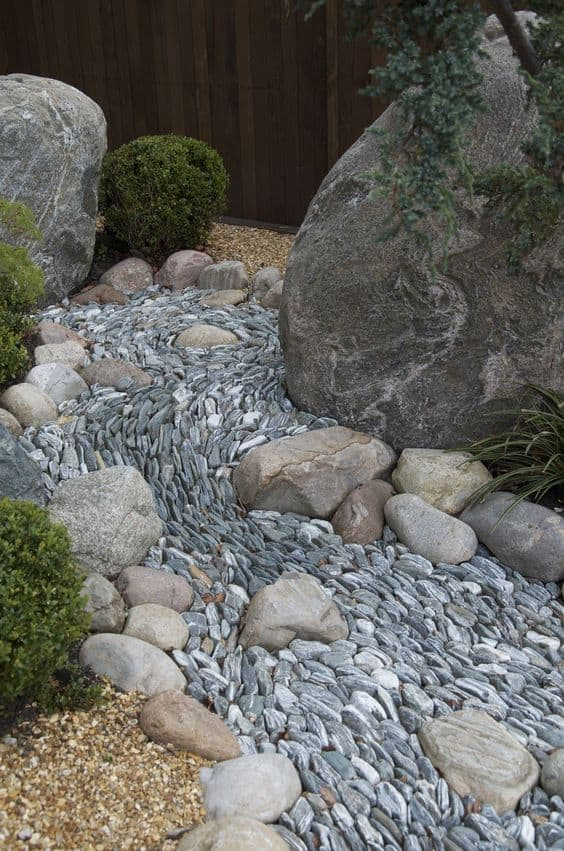 Dry river bed landscaping ideas: Perfectly arrange small stones in your creek