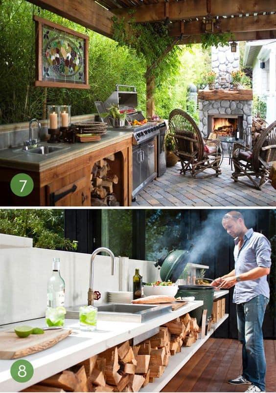 Outdoor cooking station with built-in grill or stove and kitchen counter