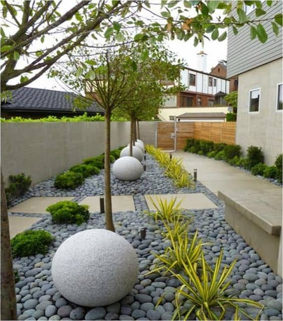 landscaping with well arranged rocks covering the whole garden ground