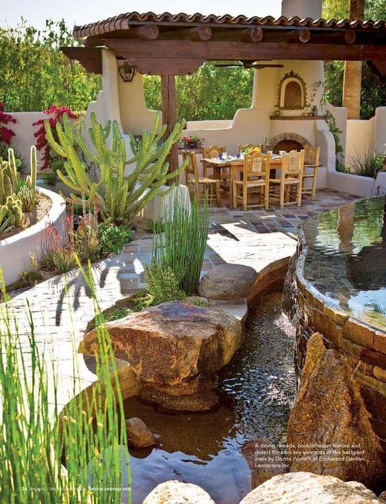 a relaxing garden with a pergola and  a pond