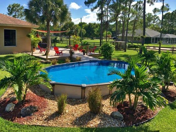 melenia pool as a center piece of your backyard garden