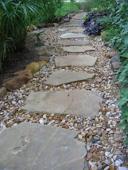 flagstone and pebbles walkway  #walkway #Hardscaping #backyardLandscaping #backyardLandscapingIdeas #landscaping #cheapLandscapingIdeas #backyard #landscaping #curbAppeal  #steppingStones #rocks