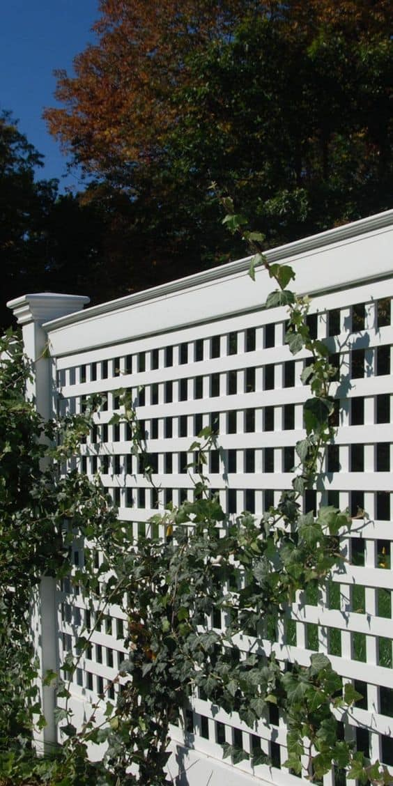 white vinyl lattice fence panel