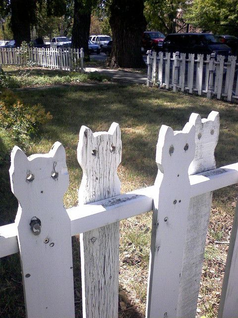 white picket with cat design on top