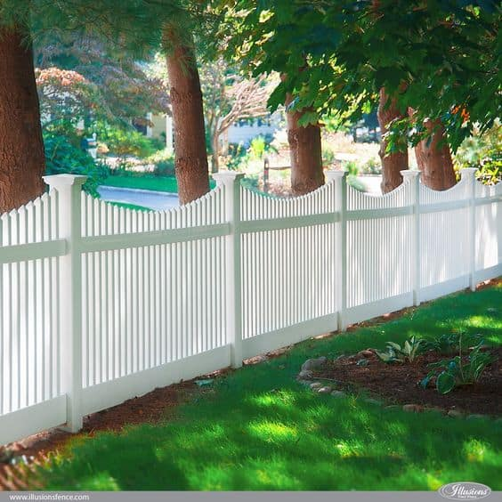 vinyl white picket fence with a curvy top design