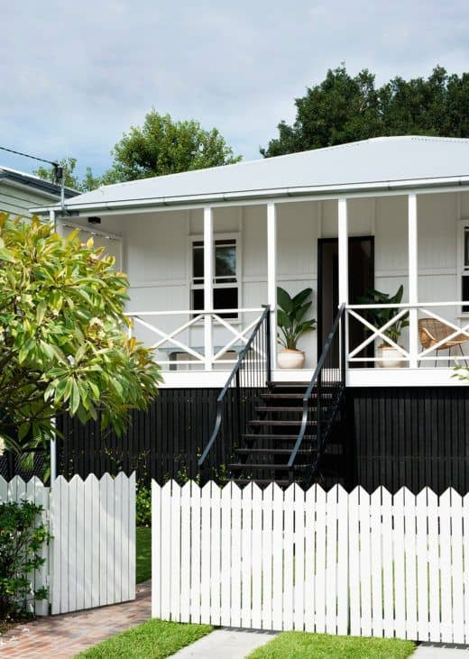 White picket fence for a black and white house