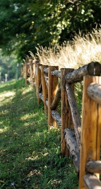 small logs of crude wood fence