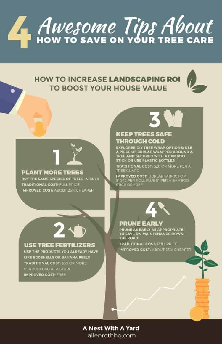 4 awesome tips about how to save on tree care #tree #landscape #landscaping #backyardLandscaping #backyarddesign #backyard #cheapLandscapingIdeas #Infographic