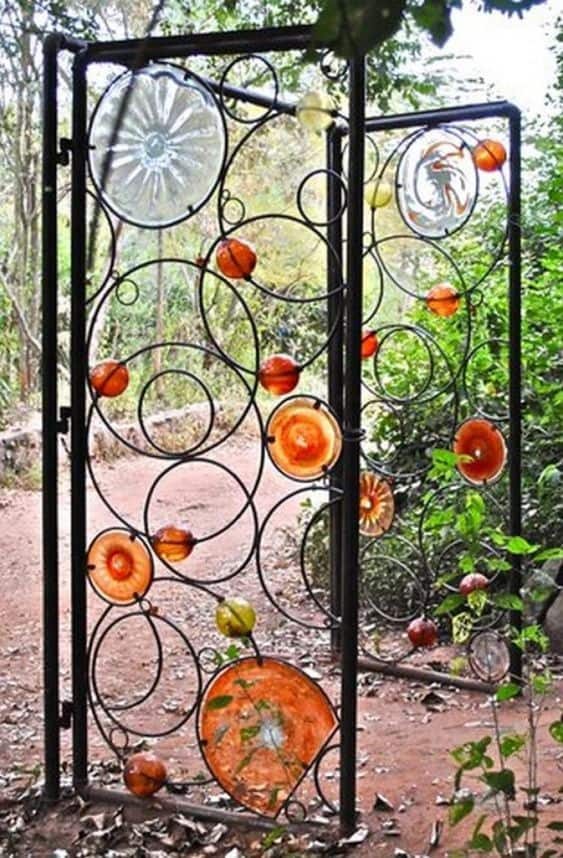 blown glass ornaments , metal design gate #fenceGate #fence #gardenfence #gardenfenceideas #privacyfenceideas #privacyfence #backyardLandscaping #backyardLandscapingIdeas #landscaping #gardenfence #gardenfenceideas #privacyfenceideas